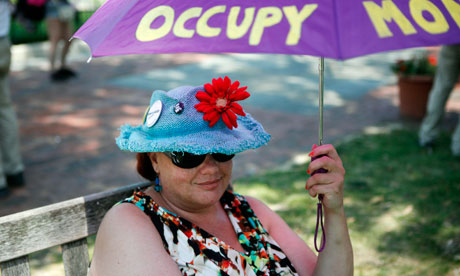 Betty Beekeeper, an activist affiliated with the Occupy Wall Street movement, at the 4 July national gathering in Philadelphia. Photograph: Brynn Anderson/AP