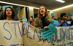 Emma Christ, center, a Cleveland High School senior, at a rally organized by the Portland Student Union and the Portland Teachers Solidarity Campaign. The rally attracted students, parents and other unions in support of teachers during contract negotiations. Stephanie Yao Long/The Oregonian/Landov